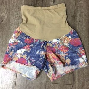 Indigo Blue Pants - Indigo blue floral maternity shorts small