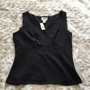NWT Talbots 100% still v neck Sleeveless blouse