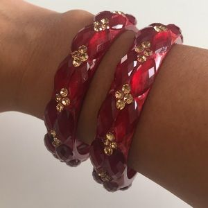 Jewelry - Red and gold bangles