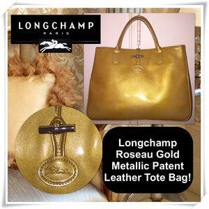 Longchamp Handbags - Longchamp Roseau Gold Patent Leather Tote Bag!