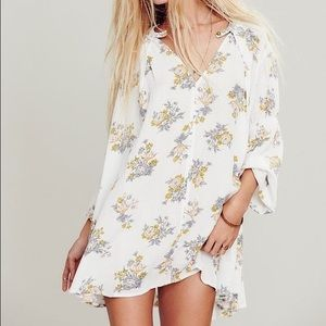 White Floral Flowy Tunic Dress