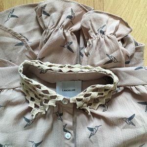 Tops - Ruffle Bird Button Up Blouse