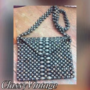 vintage Handbags - 1960's Avocado green  wood bead bag