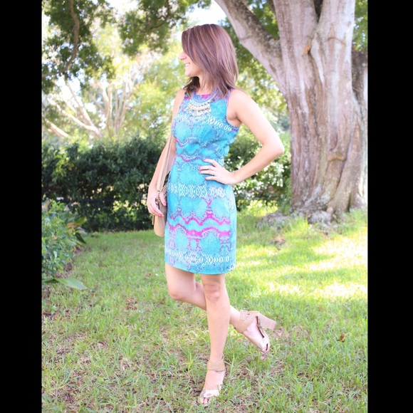 charlie jade Dresses - Turquoise printed dress: bright and fun!