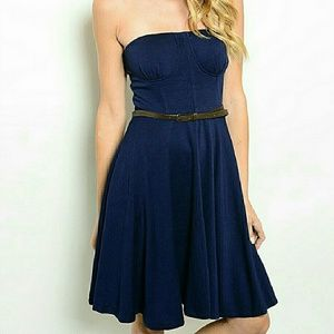 threadzwear  Dresses & Skirts - Belted Strapless Navy Midi dress