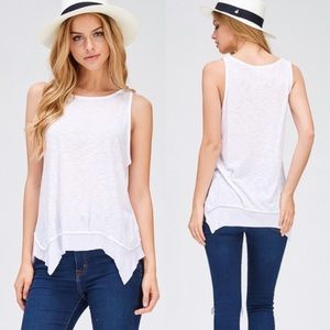 Tops - White thermal layered tank