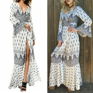 Dresses & Skirts - Tribal Boho bell sleeve wrap festival maxi dress