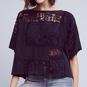 Anthropologie Embroidered Darrie Top