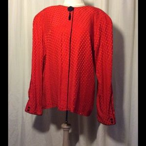 Maggy London Tops - 100% silk red on red checkered blouse