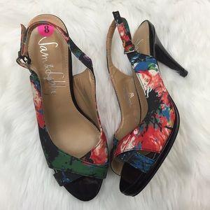 Sam & Libby Shoes - 🍀SAM & LIBBY Watercolor Print Slingback Heels