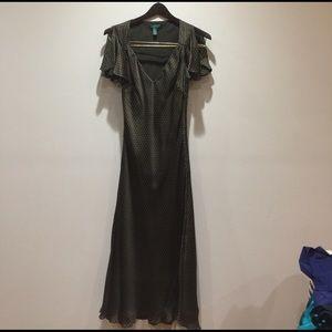 Ralph Lauren Brown Polka Dot silk dress