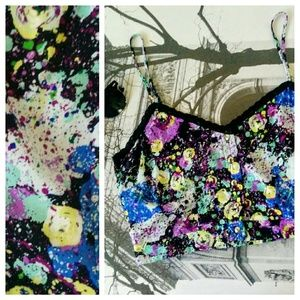 Lily White Tops - Crop Top in Paint Splatter Print