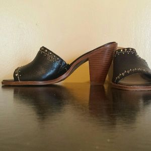 Reba Shoes - Reba leather open toed block heel. Metal stud trim