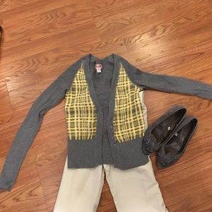Mossimo Supply Co Sweaters - Mossimo Sz S Gray/yellow cardigan NWOT