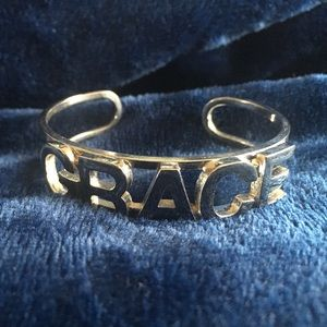 "Lisa Stewart Jewelry - Lisa Stewart Rhodium ""Grace"" Word Cuff"