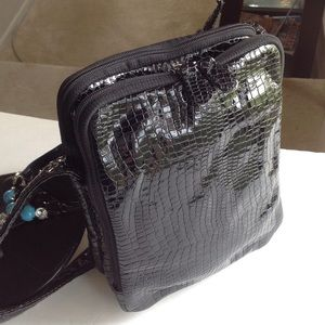 SAS croc embossed patent leather purse made in USA