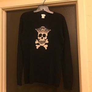 Autumn Cashmere Sweaters - Skull and Rhinestone Crown Cashmere Sweater