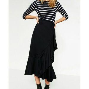 Zara Frilled Wool Blend Skirt