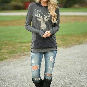 Boutique Gold Deer Head Hoodie