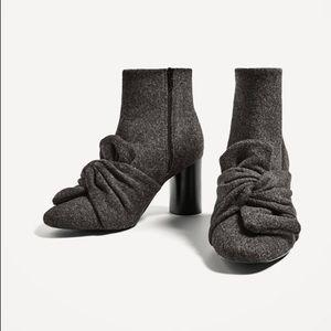 Zara grey bow booties
