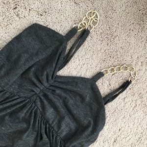 Dresses & Skirts - ⬇️Grey baby doll dress with gold chain straps
