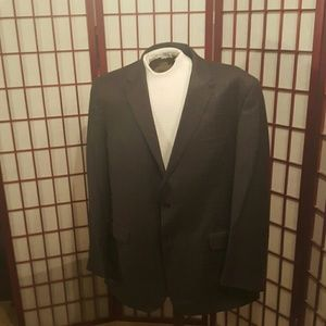 Men's dark grey plaid suit
