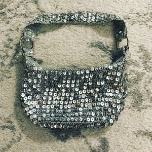 Silver & gray sequined knit shoulder purse