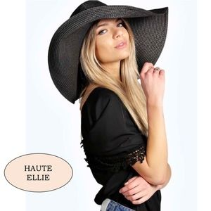Accessories - 🆕 Packable Black Boho Floppy Wide Brim Straw  Hat