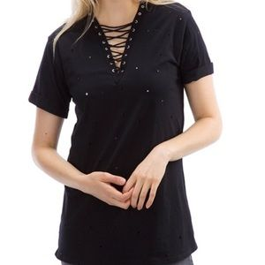 Auditions Tops - Distressed Lace Up Tee