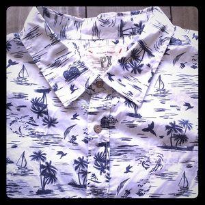 Men's Surf Print Short Sleeve Button Down Shirt
