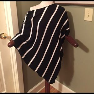 Stripped Sweater Poncho