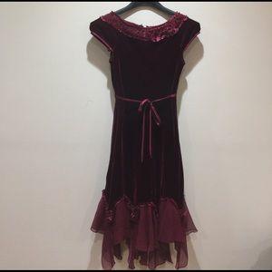 Gorgeous big girls burgundy velvet formal dress