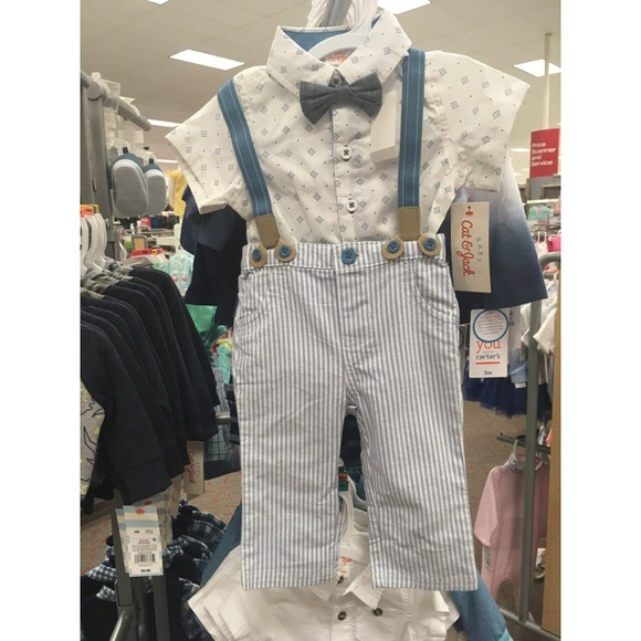 Baby Cat /& Jack Suspenders And bow Tie Set.