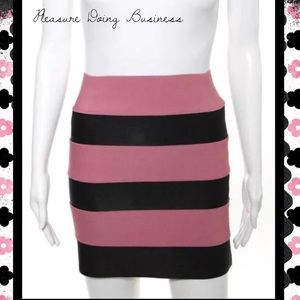 Pleasure Doing Business Dresses & Skirts - PLEASURE DOING BUSINESS Pink/Black Banded Skirt