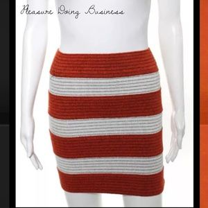 Pleasure Doing Business Dresses & Skirts - PLEASURE DOING BUSINESS Orange/White Banded Skirt