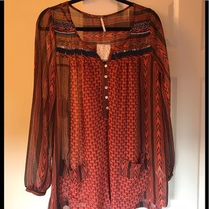 Free People Tops - Free People Festival Red Blouse