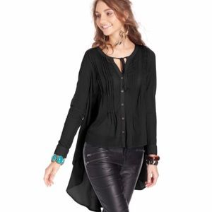 Free People High Low Button Tie Neck Blouse