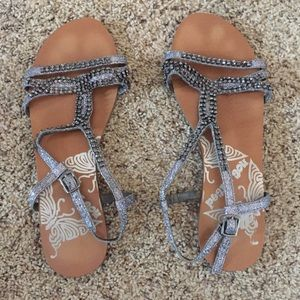 Not Rated Shoes - Silver pewter jeweled leather sandals 7.5