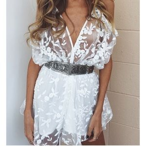 Romper white sheer floral 2017 trend style chic