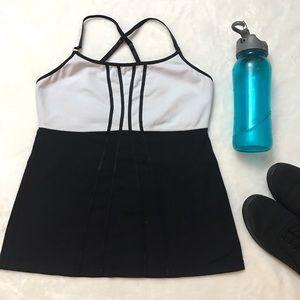 lululemon athletica Tops - LULULEMON Black White Criss Cross Tank Top