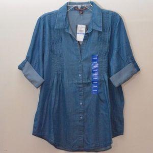 Gloria Vanderbilt Tops - New Gloria Vanderbilt Blue L Pleated Chambray Top