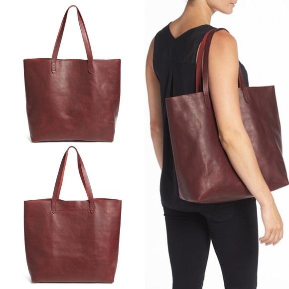 21cee7d08ac0 Madewell Bags | Transport Leather Tote Dark Cabernet | Poshmark