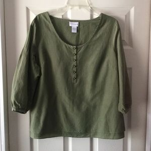Soft surroundings Olive Green Blouse