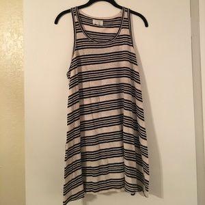 Lou & Grey Dresses - Black and beige striped linen trapeze dress