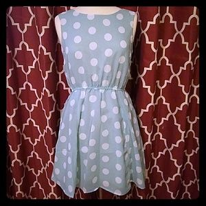 Pinky Dresses & Skirts - PINKY BRAND ROBINS EGG BLUE POLKA DOT MINI DRESS