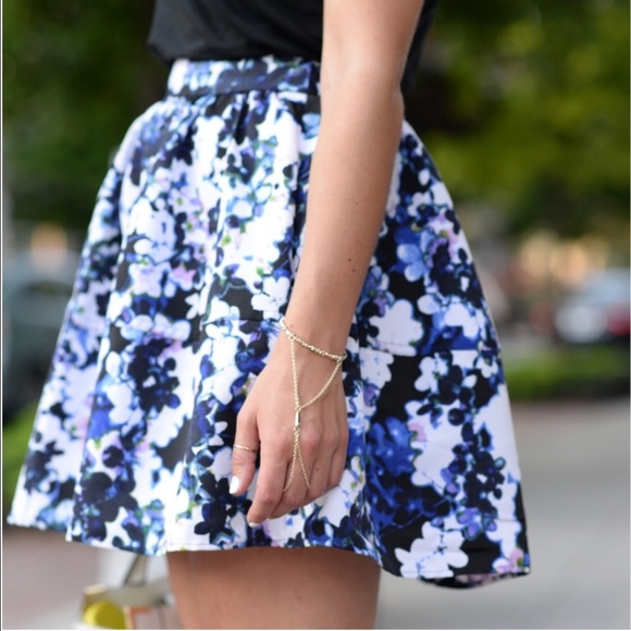 Express Skirts - Express Blue/White Floral Skirt