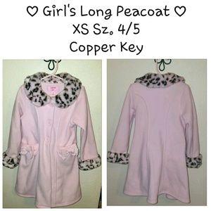 Copper Key Other - Long Pink Girl's Coat w/ Cheetah Faux Fur 4/5 XS