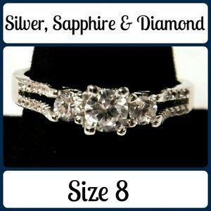Jewelry - Sz 8 NEW Sapphire & Diamond Three Stone Ring