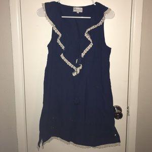 Mud Pie Dresses & Skirts - Adorable navy blue tank dress w/ crochet edges