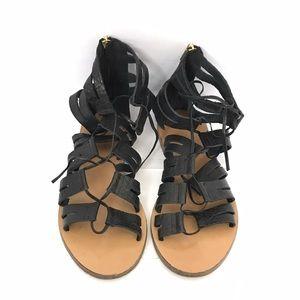 J. Crew Shoes - J. Crew Lace Up Gladiator Black Leather Sandals